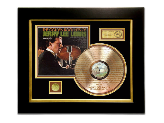 LIMITED EDITION ETCHED GOLD LP 'JERRY LEE LEWIS - GOLDEN ROCK HITS' CUSTOM FRAME
