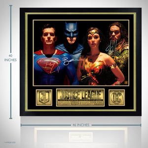 Justice League - Cast Hand-Signed Poster Displayed In A Rare-T Exclusive Custom Frame.