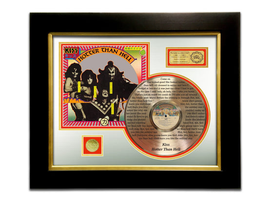 LIMITED EDITION ETCHED GOLD LP 'KISS - HOTTER THAN HELL' CUSTOM FRAME