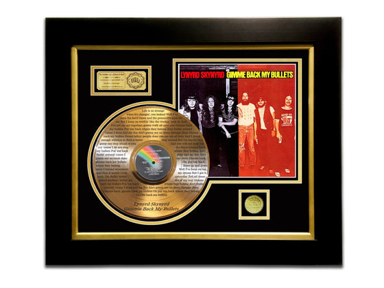 LIMITED EDITION ETCHED GOLD LP 'LYNYRD SKYNYRD - GIMME BACK MY BULLETS' CUSTOM FRAME