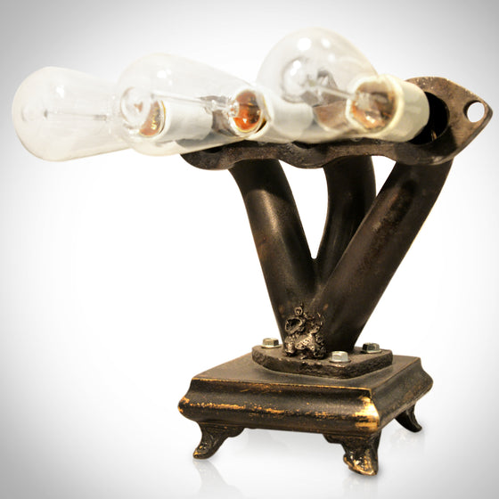 Handmade Large 'STEAMPUNK-CAR EXHAUST MANIFOLD' Lamp