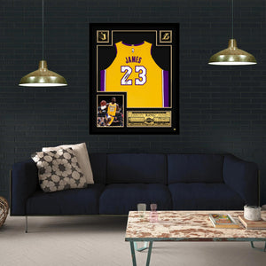 Lebron James- Los Angeles Lakers Hand-Signed Jersey By Lebron James Custom Frame
