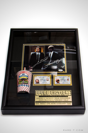Pulp Fiction Kahuna Burger scene with Kahuna drinking cup prop and driver's license Samuel L. Jackson John Travolta hand signed display box frame