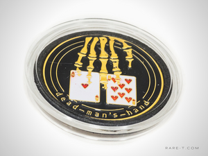 Gold plated 'DEAD MAN'S HAND-POKER CHIP CARD GUARD'