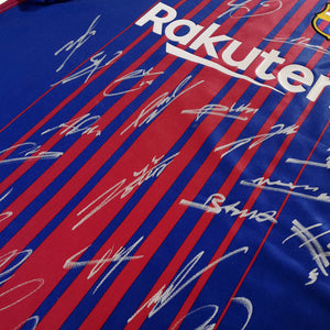Leo Messi 'Barcelona 2017-2018' Hand-Signed Dark Blue Jersey By Leo Messi & Team Custom Frame