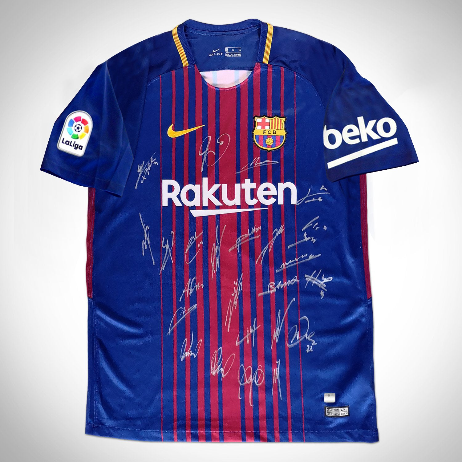detailed pictures c5772 b713a Leo Messi 'Barcelona 2017-2018' Hand-Signed Dark Blue Jersey by Leo Messi &  Team Custom Frame