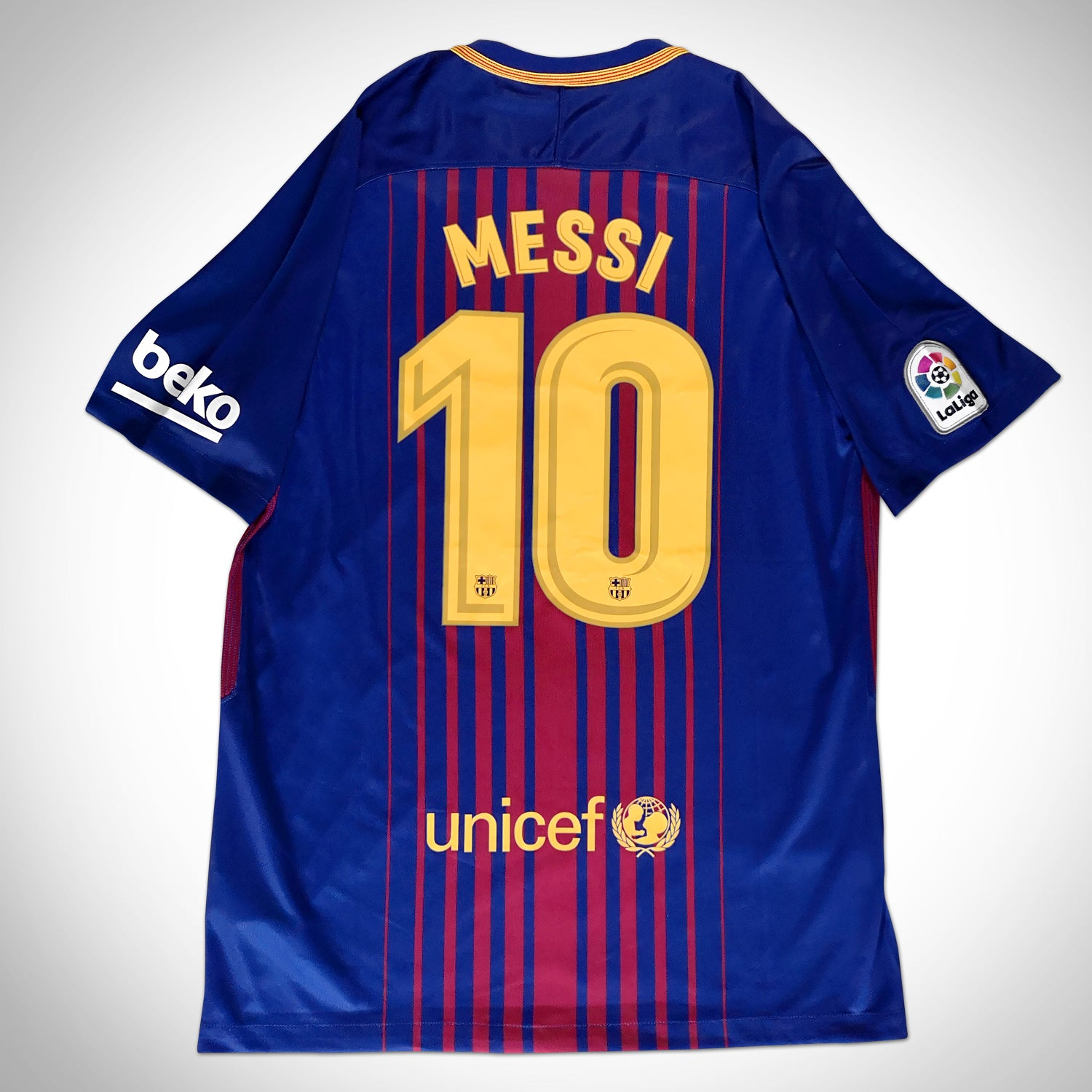 detailed pictures c414a 98e3c Leo Messi 'Barcelona 2017-2018' Hand-Signed Dark Blue Jersey by Leo Messi &  Team Custom Frame