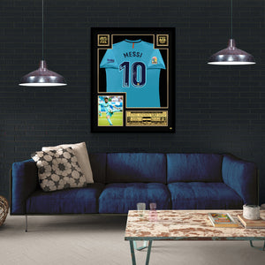 Leo Messi 'Barcelona 2018'  Hand-Signed Nike (Away) Jersey By Lionel Messi Custom Frame