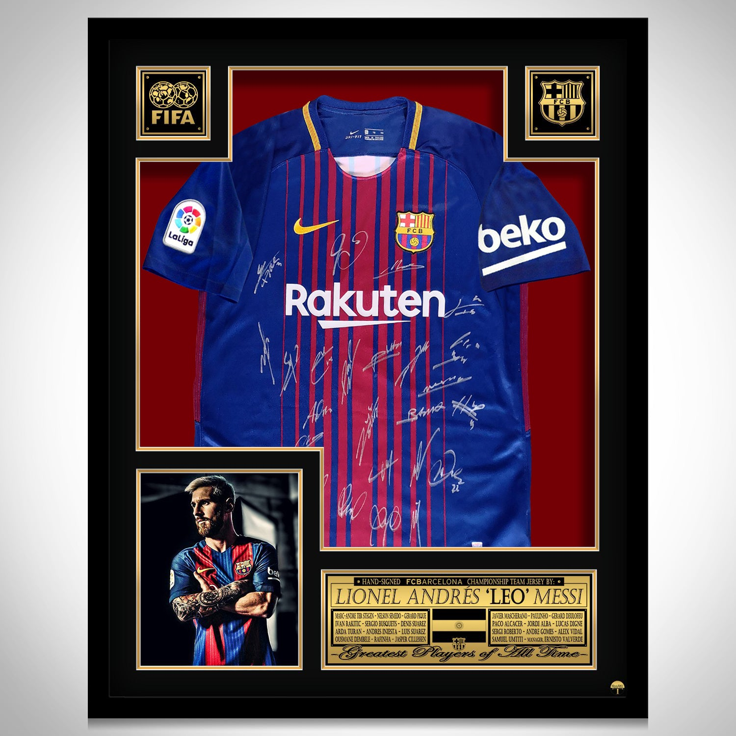 detailed pictures f25e5 f304a Leo Messi 'Barcelona 2017-2018' Hand-Signed Dark Blue Jersey by Leo Messi &  Team Custom Frame