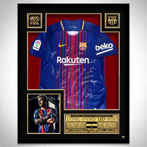 LEO MESSI - BARCELONA 2017-2018 TEAM Hand signed Dark Blue Jersey
