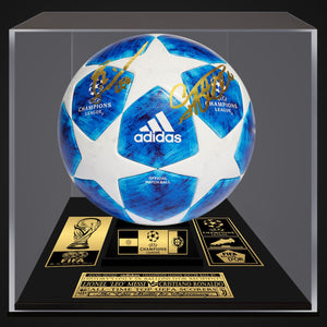 LIONEL MESSI & CRISTIANO RONALDO Hand-Signed Champions League 2019 Soccer Ball