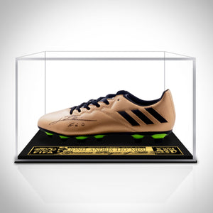 Leo Messi- Authentic Hand-Signed Bronze Adidas Soccer Cleat By Lionel Messi Custom Museum Display
