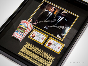 Pulp Fiction Kahuna Burger scene with Kahuna drinking cup prop and driver's license Samuel L. Jackson John Travolta hand signed display box frame plate