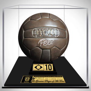Pelé- 'Brasil' Hand-Signed Vintage 1966 Genuine Leather Soccer Ball By Pelé Custom Museum Display