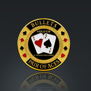 24K Gold Plated 'Bullets Pair Of Aces-Poker Chip Card Guard'