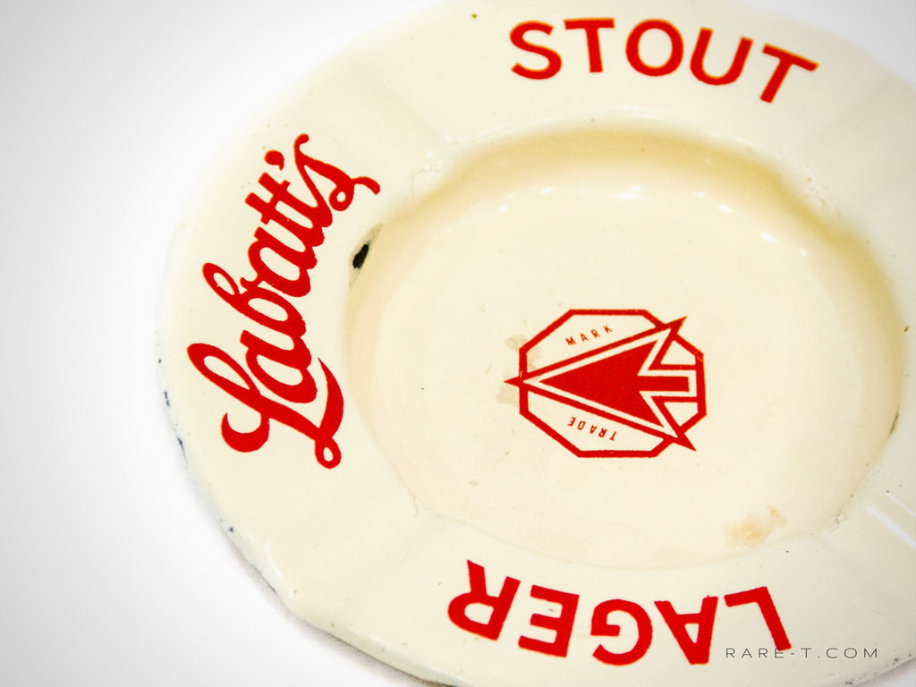 Ivory Weathered Patina Porcelain/Enamel LABATT'S Ashtray | RARE-T