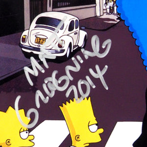 The Simpsons- The Beatles 'Abbey Road' Hand-Signed Photo By Matt Groening Custom Frame