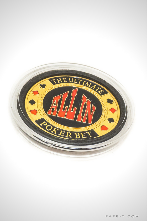 24K Gold plated 'ULTIMATE POKER BET ALL IN-POKER CHIP CARD GUARD'