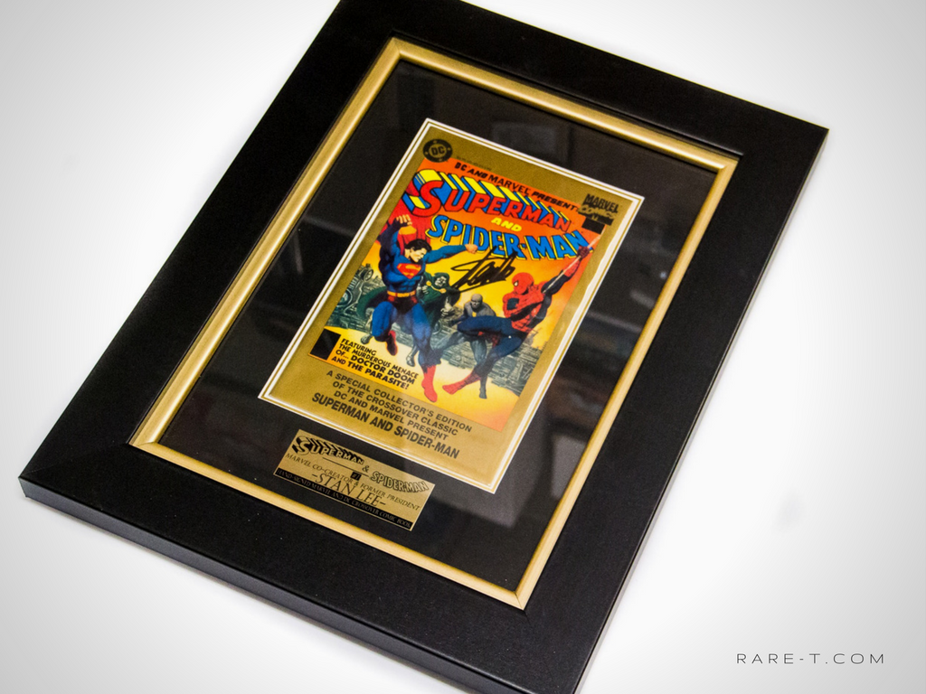RARE-T Exclusive '#1 SUPERMAN & SPIDER-MAN - SIGNED BY STAN LEE' Custom Frame