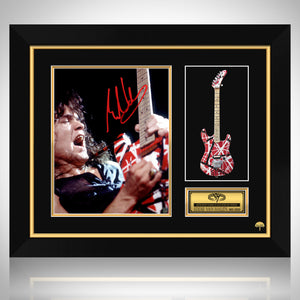 Eddie Van Halen Limited Edition Studio Licensed Mini Guitar & Mini Poster Custom Frame