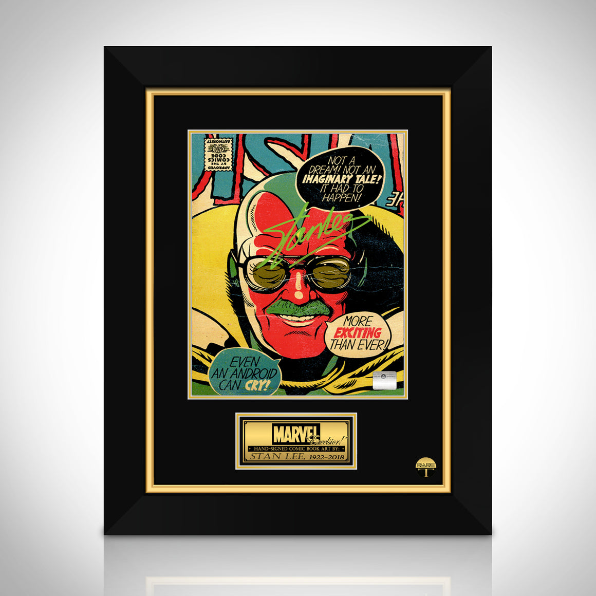 Stan Lee- 'Vision' Hand-Signed Caricature by Stan Lee Custom Frame