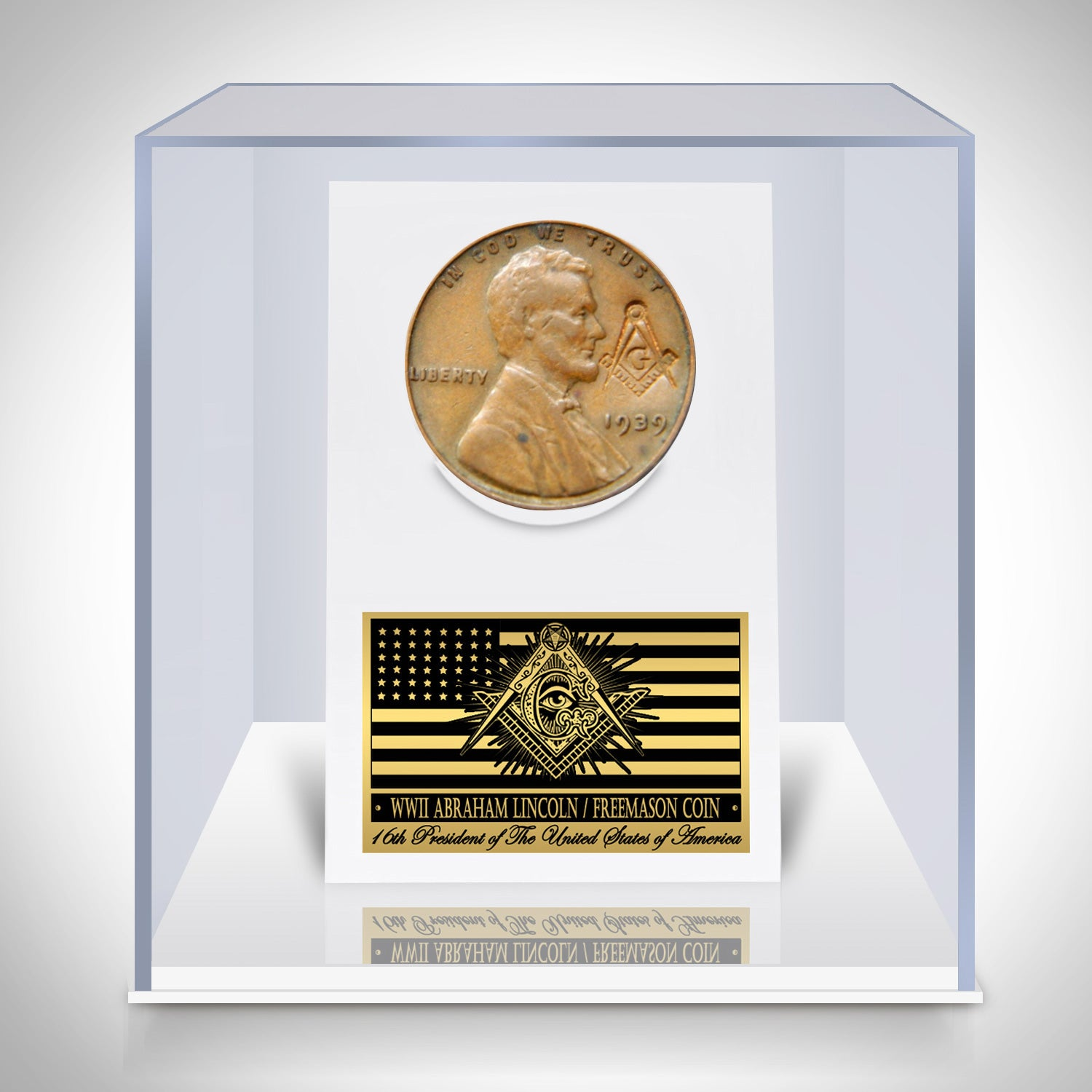 WWII Abraham Lincoln Freemason Symbol Coin Custom Museum Display