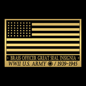 Brass Visor Insignia - WWII 1939-1945 United States Army Officer Brass Visor Insignia Museum Display