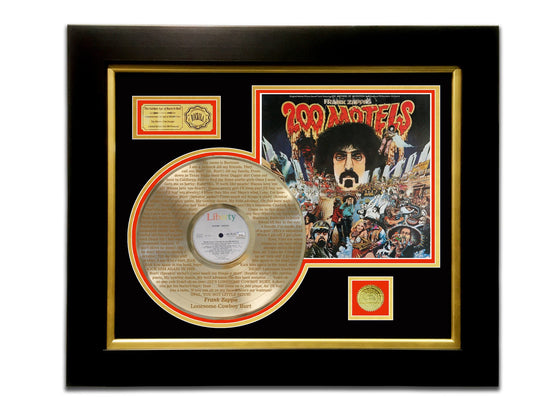 LIMITED EDITION ETCHED GOLD LP 'FRANK ZAPPA - 200 MOTELS' CUSTOM FRAME