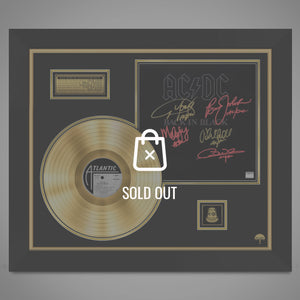 Ac/Dc- 'Back In Black' 24K Gold Plated Record Hand-Signed By Band Custom Frame