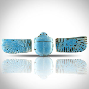 Winged Scarab - Ancient Egyptian Blue Faience Winged Scarab 360-300 BC Custom Museum Display