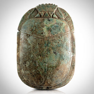 Authentic Limestone Heart Scarab 1292 - 1189 Bc Museum Display