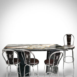 Harley-Davidson Original Custom Table & 4 Metal Stools Hand-Painted by Artist Grendel