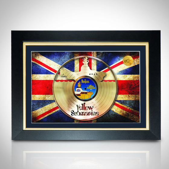 RARE-T Exclusive Limited Edition GOLD 'BEATLES-YELLOW SUBMARINE WITH UK FLAG' Custom Frame