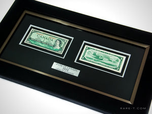 RARE-T Exclusive VIP frame showcases 2 out of circulation 1954 $1 Bank of Canadabills (front and back), as well as a brushed aluminium plate explaining the contents within to all