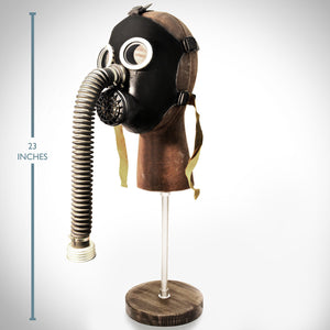 Gas Mask- Authentic Soviet Russian Cold War Antique Gas Mask & Leather Head Stand - Black