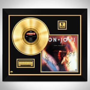 Bon Jovi 7800° Fahrenheit Limited Signature Edition Studio Licensed Gold LP Custom Frame