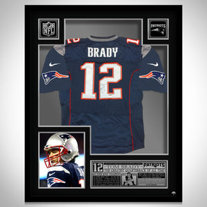 Tom Brady 'New England Patriots' Hand-Signed Blue Jersey By #12 Tom Brady Custom Frame