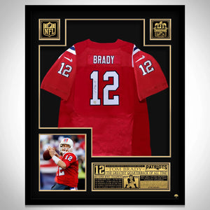 Tom Brady- New England Patriots Hand-Signed Red Jersey By #12 Tom Brady Custom Frame