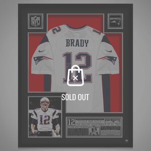 Tom Brady- New England Patriots Hand-Signed White Jersey By #12 Tom Brady Custom Frame