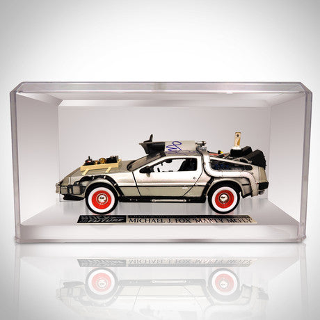BACK TO THE FUTURE 3 - DMC DELOREAN Hand-Signed by MICHAEL J FOX RARE-T Exclusive Custom Display