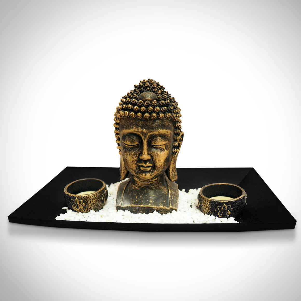 Buddha Head with Tea Light Tray Fine Art Statue