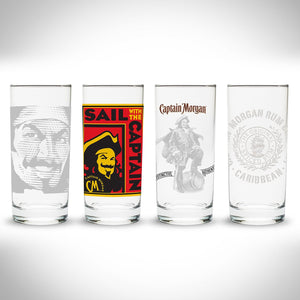 Captain Morgan Set of 4 Highball Rum 16oz Glasses