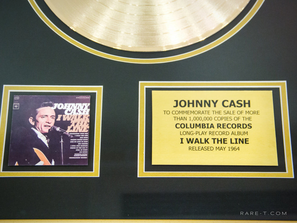 RARE-T Exclusive Limited Edition GOLD LP 'JOHNNY CASH - WALK THE LINE' Custom Frame | RARE-T