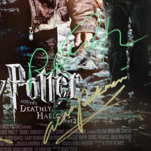 Harry Potter-Hand-Signed Deathly Hallows Part 2 Poster By Cast Member Custom Frame