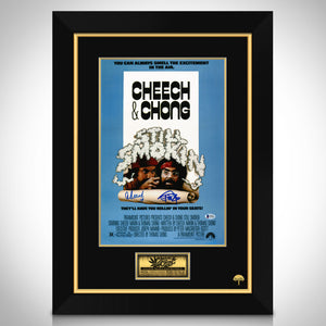 Still Smokin- Beckett Certified Hand-Signed Vintage Mini Poster By Cheech Marin & Tommy Chong Frame
