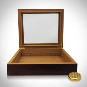 Cigar Humidor- Cherry Wood Glass Top Luxury Cigar Humidor 20Ct