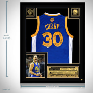 Golden State Warriors- Team Hand-Signed Stephen Curry Blue Jersey Custom Frame