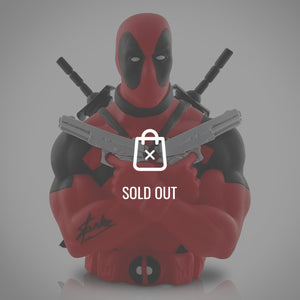 Deadpool- 'Holding Guns' Hand-Signed Bust Bank By Stan Lee