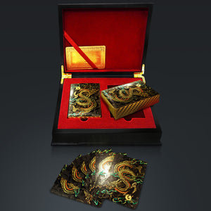 24K Gold Plated Playing Cards - Dragon Pattern Playing Cards With Elegant Display Box