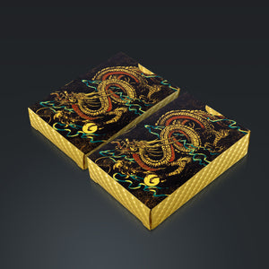 24K Gold Plated Dragon Pattern Playing Cards with Elegant Display Box